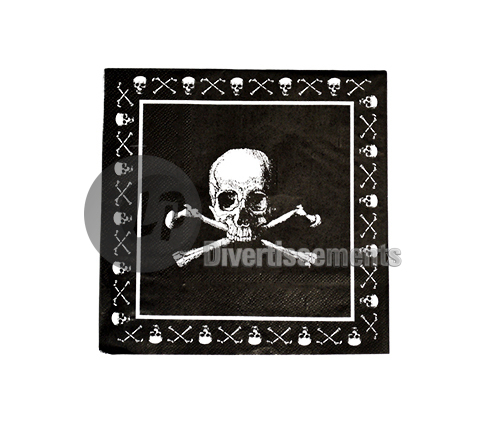 pirates NOIR lot de 20 serviettes en papier