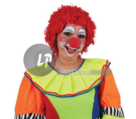 perruque clown en laine ROUGE