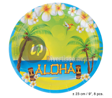Aloha lot de 8 assiettes en carton