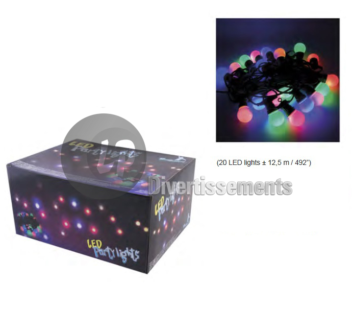 guirlande lumineuse 20 lampes LEDs MULTICOLORE 12.5m