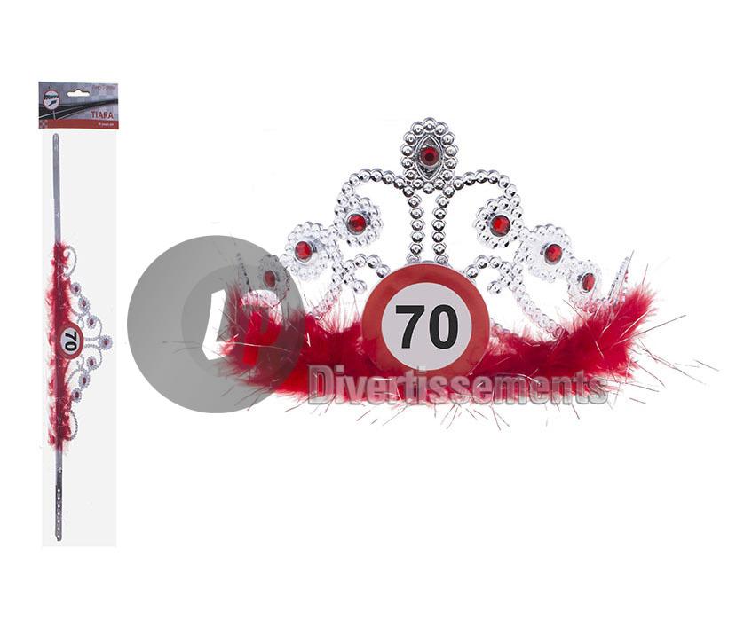 339129034b9 diadème couronne strass   plumes anniversaire 70 ANS