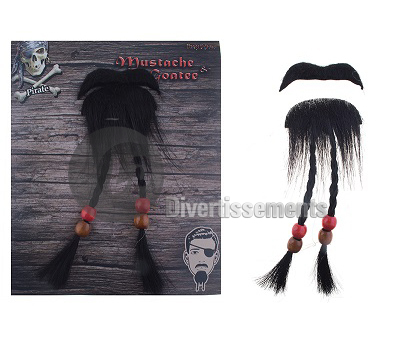 lot de moustache et barbe de pirate 22cm