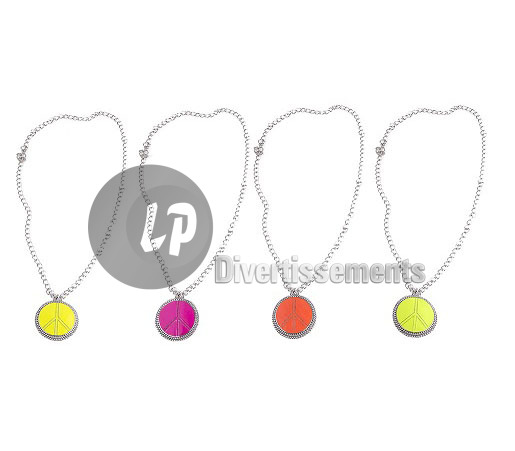 collier peace & love FLUO avec médaillon MIX 5cm