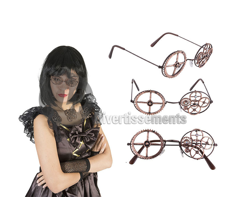 lunettes rondes steampunk ENGRENAGES avec strass