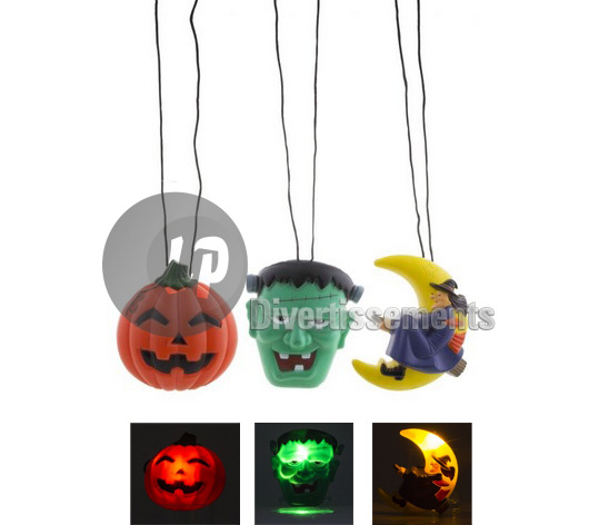 collier pendentif lumineux LED halloween MIX 13cm