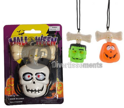 collier pendentif lumineux LED halloween MIX 10cm