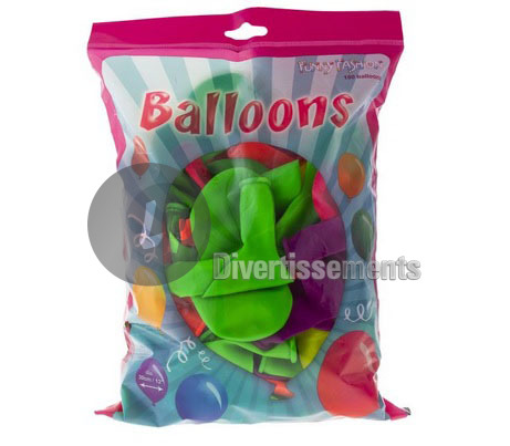 lot de 100 ballons multicolores NEON FLUO