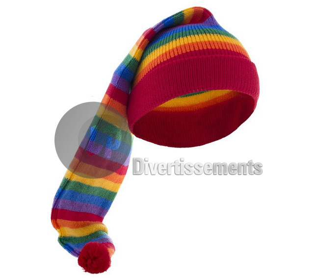 "bonnet de nuit long ""rainbow"" arc en ciel"