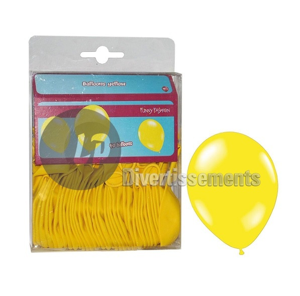 lot de 40 ballons latex opaques JAUNE 30cm