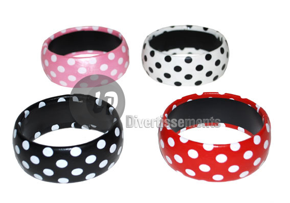 bracelet red with<br>white polka dots