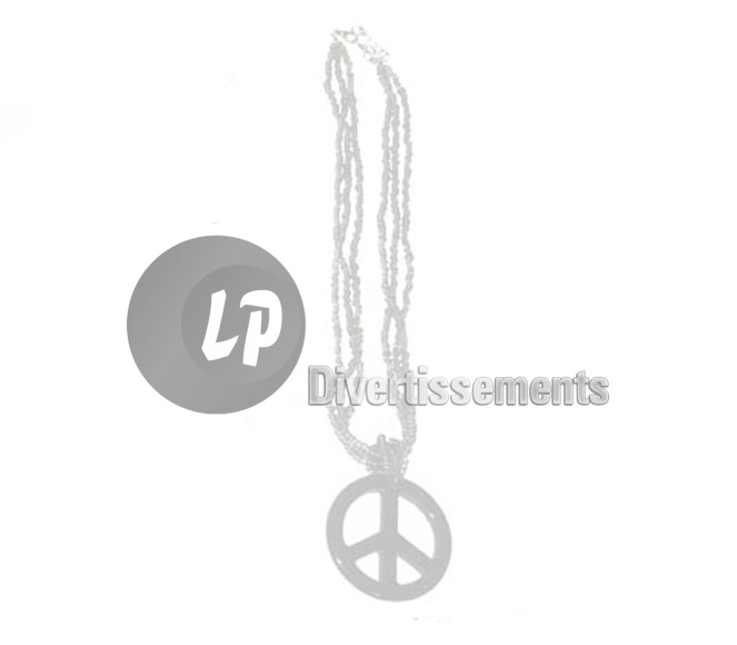 collier peace & love BLANC