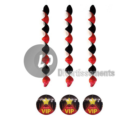 "lot de 3 suspensions métallisées "" you are my VIP"" 81cm"