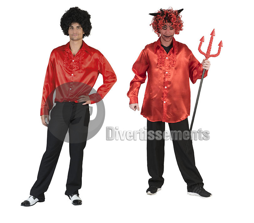 chemise disco ROUGE homme Taille XXL