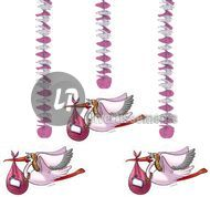 lot de 3 suspensions cigogne ROSE