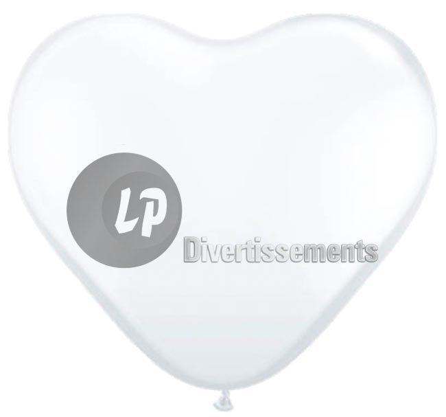Los 100<br> Luftballons 30cm<br>weißen Herzen