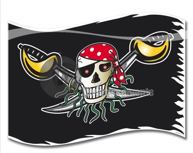 Red pirate drapeau 60x90cm