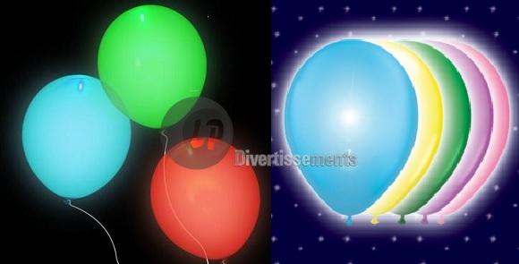 lot de 5 ballons led lumineux multicolore - Ballon Phosphorescent Mariage