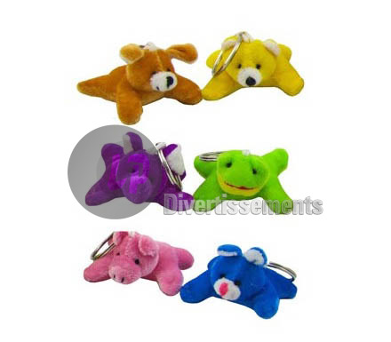 porte-clefs peluche animal MIX 8cm