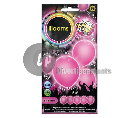 lot de 5 ballons LED lumineux PINK