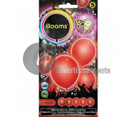 lot de 5 ballons LED lumineux ROUGE
