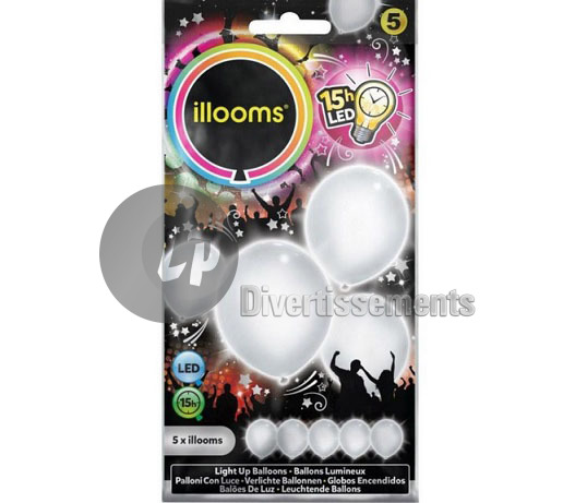 lot de 5 ballons LED lumineux BLANC