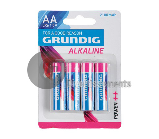 lot de 4 piles LR06 AA ALCALINES Grundig Power++ 2100mAh
