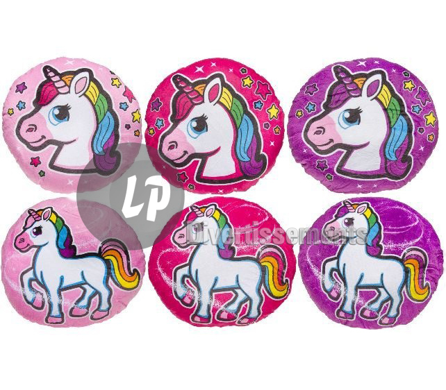 coussin rond licorne 32cm MIX