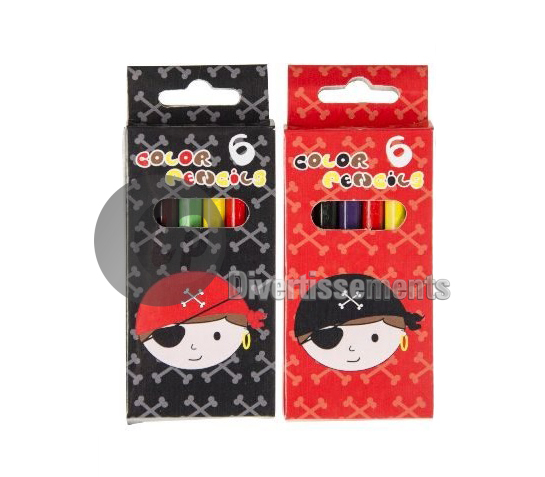lot de 6 crayons de couleur PIRATE 8,5cm