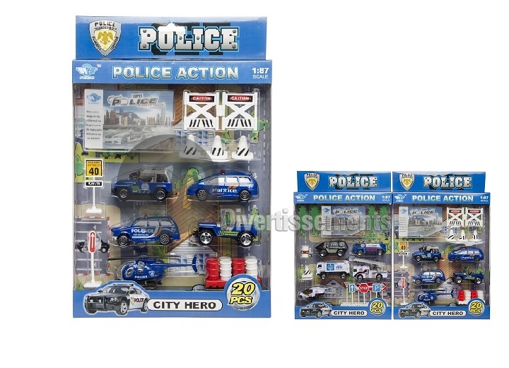 "set de police ""Die Cast"" métal MIX 20pcs"