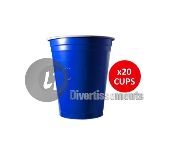 lot de 20 GRANDS gobelets original cup 53cl BLEU