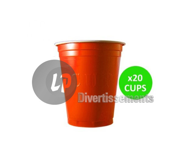 lot de 20 GRANDS gobelets original cup 53cl ORANGE
