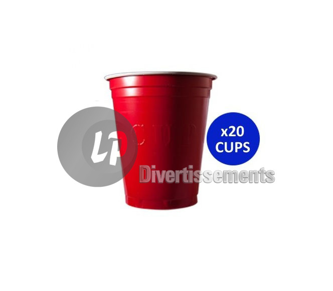 lot de 20 GRANDS gobelets original cup 53cl ROUGE
