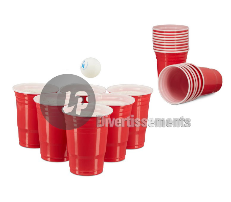 lot de 50 GRANDS gobelets plastic cup ROUGE 45cl