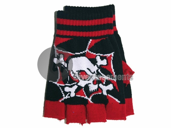 paire de mitaine pirate rouge et noir