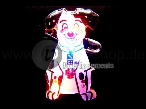 badge/magnet LED chien N&B
