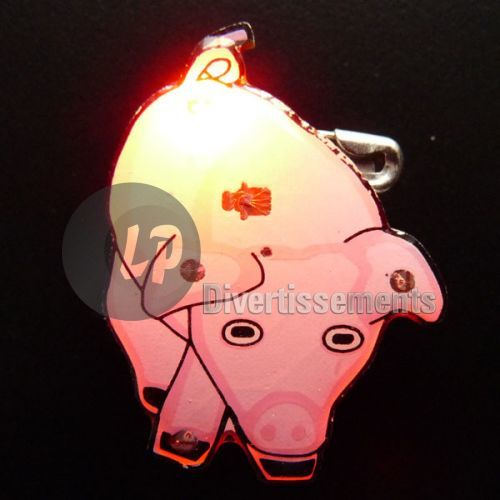 badge/magnet LED cochon rose