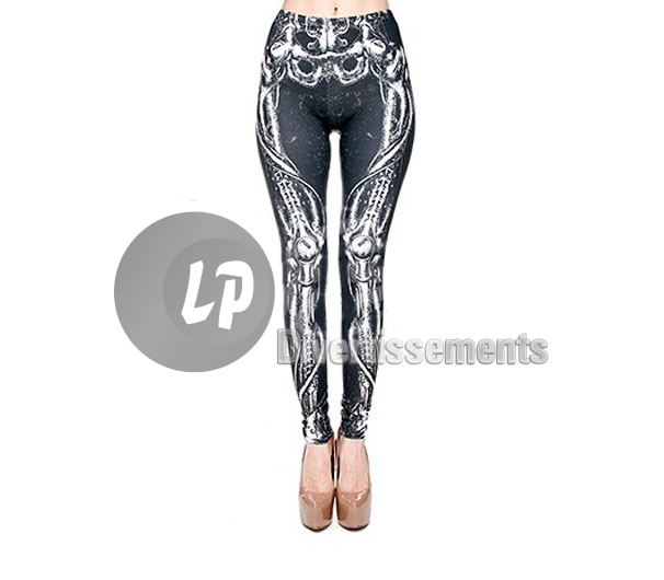 pantalon legging os squelette tribal