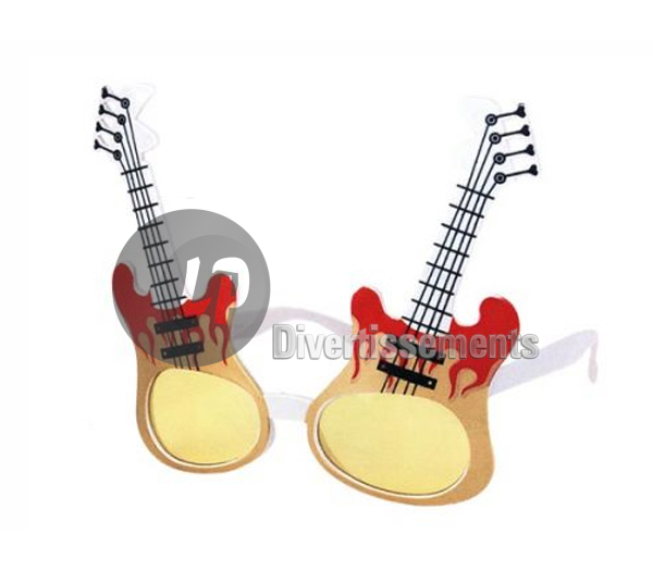 lunettes gag guitare flammes DOREE & ROUGE