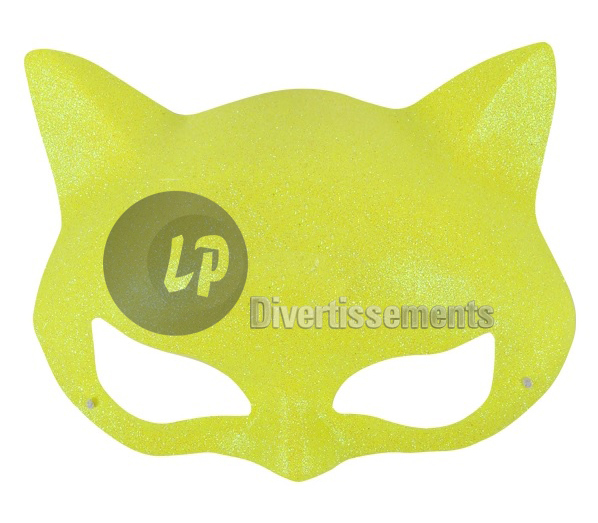 demi-masque de chat JAUNE à paillettes