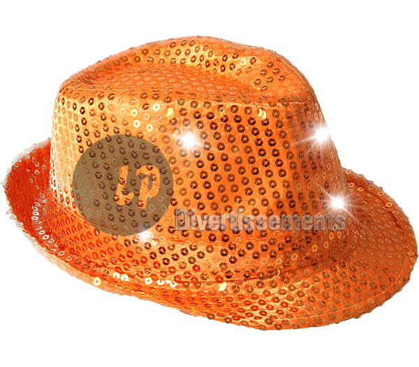 chapeau trilby à sequins lumineux ORANGE