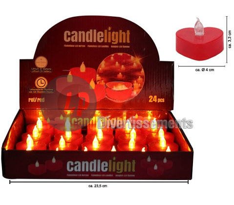 bougie coeur ROUGE LED flamme vacillante 4cm