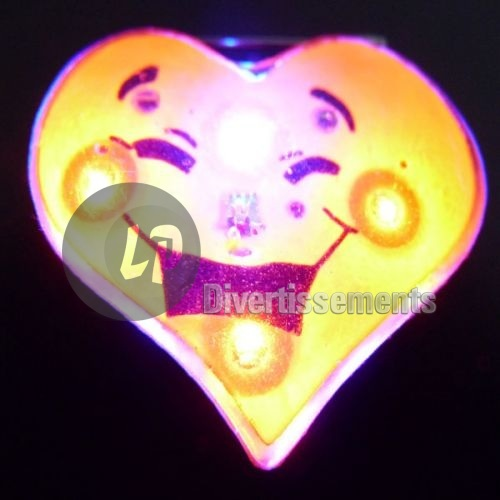 badge/magnet LED coeur visage