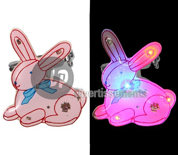 badge LED lapin ROSE