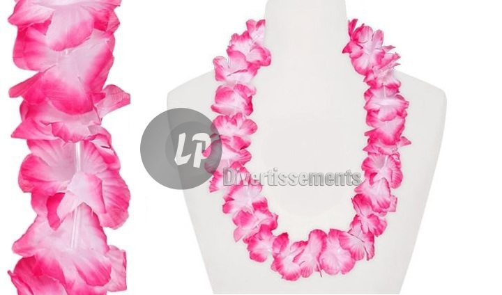 collier tahiti 60mm rose & blanc