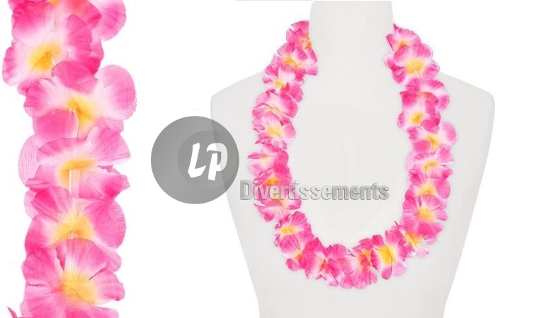 collier tahiti 60mm rose et blanc et jaune