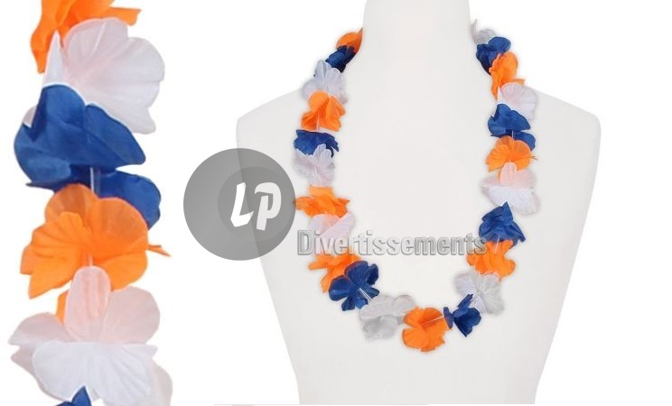 collier tahiti 60mm bleu blanc orange ALT