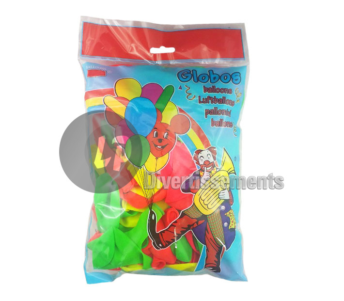 lot de 100 ballons latex néon RONDS coloris assortis