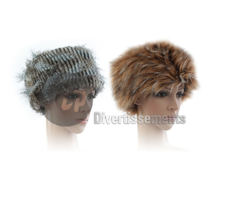 bonnet toque imitation fourrure GRIS & BEIGE mix